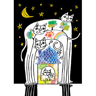 ポストカード【青空、星空、きみといっしょ。】* おかべてつろう