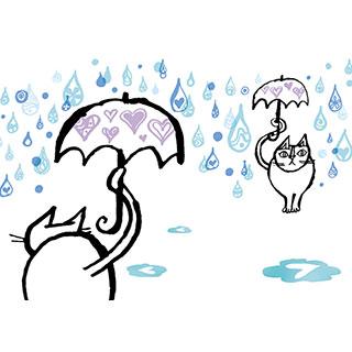 ポストカード【雨の日もあなたに会いにゆく。】*おかべてつろう