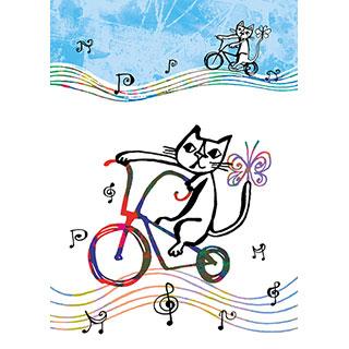ポストカード【自転車だいすき】* おかべてつろう
