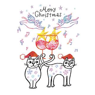 クリスマスカード【しあわせがやってきたね、メリークリスマス!】* おかべてつろう