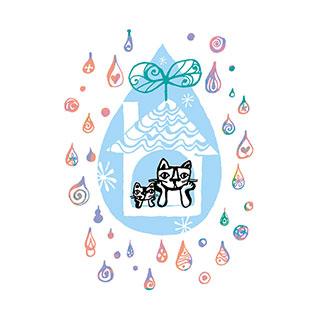ポストカード【雨の日はうちでのんびり】* おかべてつろう