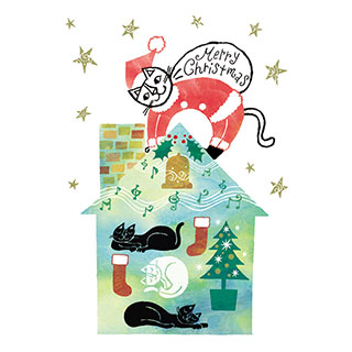 クリスマスカード【プレゼントを待つみんなに、メリークリスマス!】* おかべてつろう