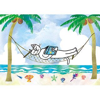 サマーカード【南の島でのんびりと。】*おかべてつろう