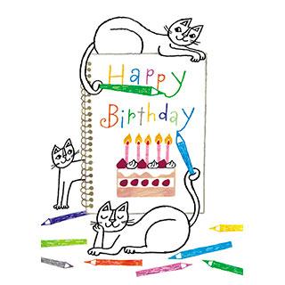 ポストカード【Happy Birthday いつまでもたいせつなあなた。】* おかべてつろう