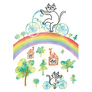 ポストカード【虹のサイクリング。】* おかべてつろう