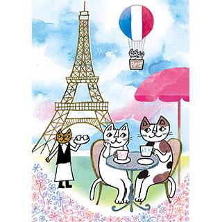 ポストカード【パリのカフェで。】* おかべてつろう