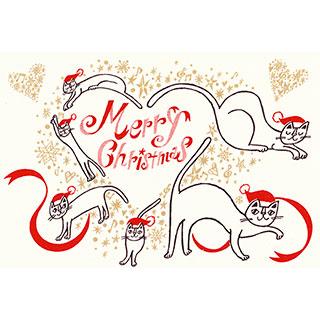 ポストカード【ハートをつくる、メリークリスマス!】* おかべてつろう