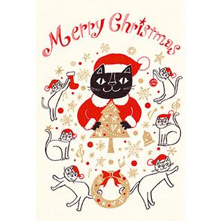 ポストカード【楽しいこといっぱいの、メリークリスマス!】* おかべてつろう