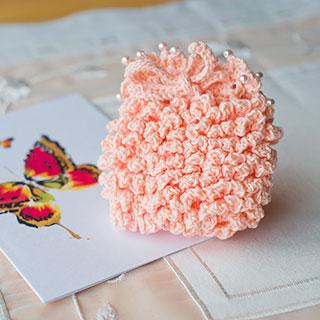もこもこ ピンクの小さい巾着 * Ours blanc