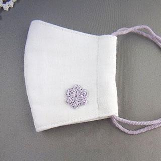 パープル花モチーフの立体マスク (こども用) * プチボヌ