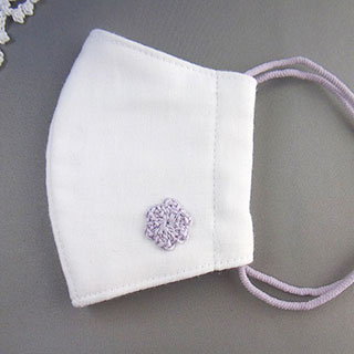 パープル花モチーフの立体マスク (やや小さめ) * プチボヌ