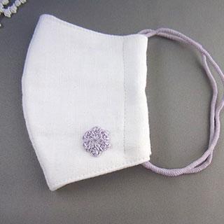 パープル花モチーフの立体マスク (おとな用) * プチボヌ