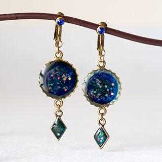 濃青のイヤリング * ragazza gemelli