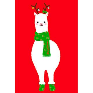 ポストカード【クリスマスアルパカ(赤)】*RiCOLETA