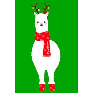 ポストカード【クリスマスアルパカ(緑)】*RiCOLETA