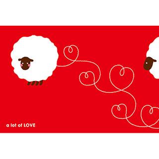 ポストカード【ハートの羊】*RiCOLETA