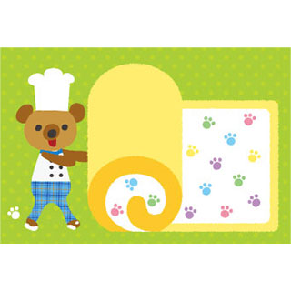 ポストカード【パティシエくま/ロールケーキ】*RiCOLETA