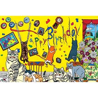 ポストカード【Cat party】* seri
