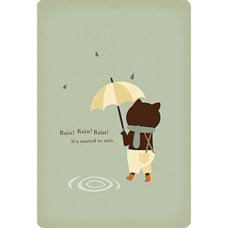 ポストカード【雨の日のこねこ】*Storm Machine Graphics