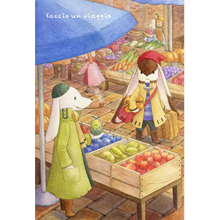 ポストカード【マルシェでお買い物】*Tea Drop