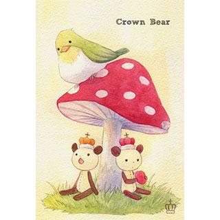 ポストカード【Crown Bear キノコとトリ】*Tea Drop