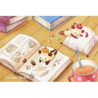 ポストカード【Crown Bear 昼下がりの午後】*Tea Drop