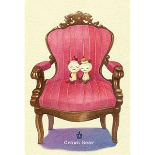 ポストカード【Crown Bear お昼寝】*Tea Drop