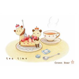 ポストカード【Crown Bear Tea Time】*Tea Drop