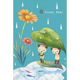 ポストカード【Crown Bear 雨上がり】*Tea Drop