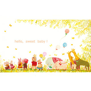 ポストカード【こんにちは、かわいいあかちゃん】* waka