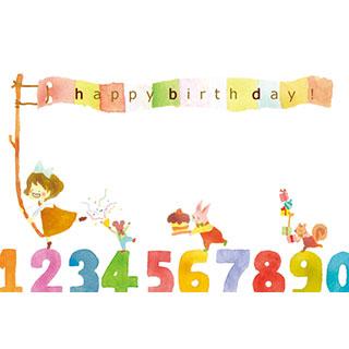 ポストカード【happy birth day!】* waka