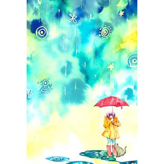ポストカード【雨宿り】* WATER+PALETTE