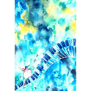 ポストカード【星空の鍵盤】* WATER+PALETTE