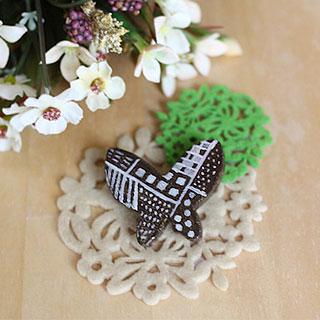 陶器ブローチ (モザイクチョウ) * yumegiwa*